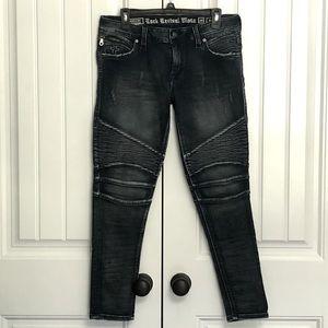 Rock Revival Nelrose Moto dark straight jeans; 29